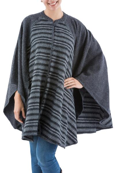 Grey Striped Alpaca Blend Ruana Wrap from Peru