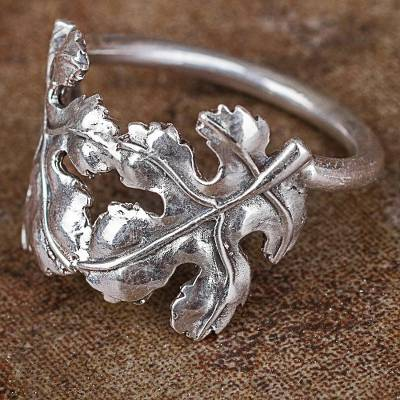 Silver cocktail ring, 'Fallen Leaves' - Hand Crafted Silver Cocktail Ring with Leaf Motif from Peru