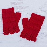 100% alpaca fingerless mittens,