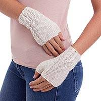 100% alpaca fingerless mittens, 'All Natural' - Hand Knitted Natural Alpaca Women's Fingerless Gloves