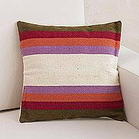 Wool cushion cover, 'Springtime Symmetry' - Multicolor Handwoven Striped Wool Cushion Cover