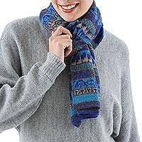 100% alpaca scarf, 'Mountain Blue' - Artisan Crafted 100% Alpaca Colorful Wrap Scarf from Peru