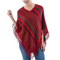 Alpaca blend poncho, 'Crimson Iconography' - Red Alpaca V-neck Peruvian Poncho with Inca Cats and Glyphs