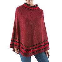 Alpaca blend poncho, 'Twilight Felines' - Red Alpaca Blend Turtleneck Poncho with Inca Cat Pattern