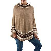 Alpaca blend turtleneck poncho, 'Cuzco Llamas' - Llamas on Alpaca Blend Turtleneck Poncho in Earth Tones
