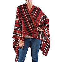 100% alpaca ruana, 'Classic Stripe in Red' - Artisan Crafted 100% Alpaca Striped Ruana in Red