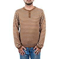Men's alpaca blend sweater, 'Mariner in Brown' - Men's Handcrafted Peruvian Alpaca Wool Sweater