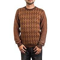 Men's alpaca blend sweater, 'Cocoa Symmetry' - Men's Alpaca Blend Pullover Sweater in Light and Dark Brown