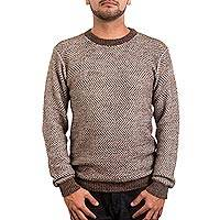 Men's alpaca blend sweater, 'Sand and Rain' - Men's Hand Crafted Brown Alpaca Wool Pullover Sweater