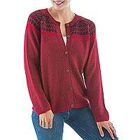 Alpaca blend cardigan, 'Crimson Iconography' - Warm Red Alpaca Blend Cardigan with Wood Buttons