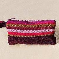 Wool coin purse wristlet, 'Burgundy Lines' - Artisan Crafted Colorful 100% Wool Coin Purse Wristlet