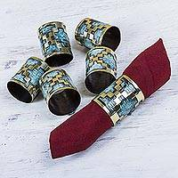 Bronze and copper napkin rings, 'Chakana Cross' (set of 6) - 6 Bronze and Copper Artisan Crafted Inca Theme Napkin Rings