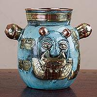 Copper and bronze decorative vase, 'Crying Cat' - Peru Tiahuanaco Culture Cat Vase in Copper and Bronze