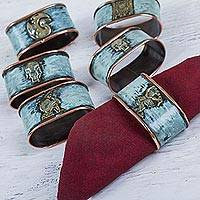 Bronze and copper napkin rings, 'Pre-Inca Images' (set of 6) - Bronze and Copper Inca Theme Napkin Rings (Set of 6)