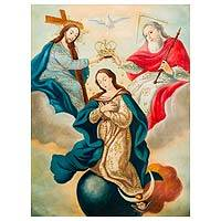 'Crowning of Our Lady' - Colonial Religious Christian Art of Crowning of Our Lady