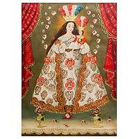 'Pomata Our Lady of the Rosary' - Original Cuzco Replica Painting of Our Lady of the Rosary