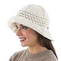 Cotton hat, 'Ivory Bonnet' - Artisan Crafted Hand Crocheted Cotton Hat with Wood Beads