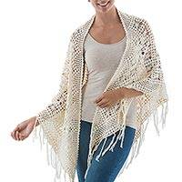 Cotton shawl, 'Web of Beauty' - Andean Hand Crocheted Cotton Lace Shawl in Ivory