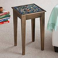 Cedar and painted glass accent table, 'Birds in the Heavens' - Hand Painted Glass Top Wood Accent Table