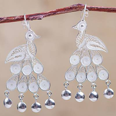 Sterling silver chandelier earrings, 'Filigree Peacock' - Andean Silver Filigree Peacock Theme Chandelier Earrings