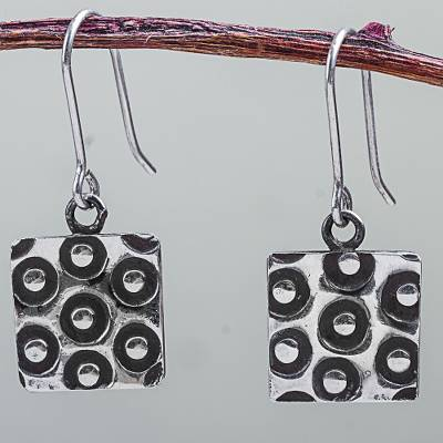 Sterling silver dangle earrings, 'Moon Spies Squared' - Modern 925 Sterling Silver Hook Earrings Crafted by Hand