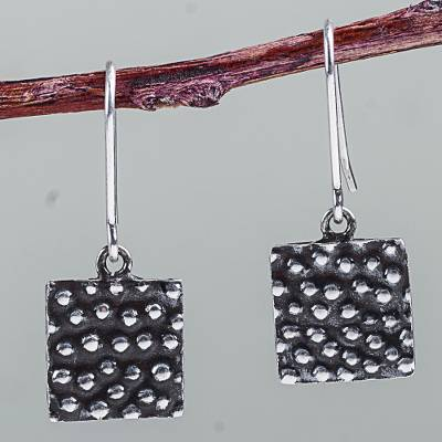 Sterling silver dangle earrings, 'Bubble Constellation' - Petite Square Earrings Hand Crafted in 925 Sterling Silver