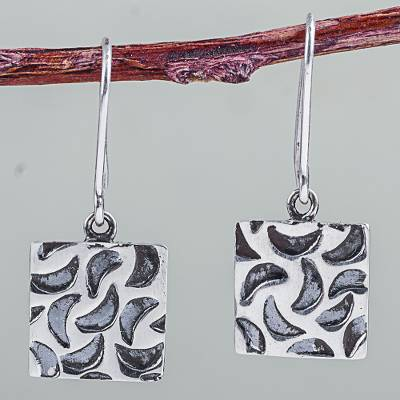 Sterling silver dangle earrings, 'Lunar Windows' - Artisan Crafted Sterling Silver Dangle Earrings from Peru