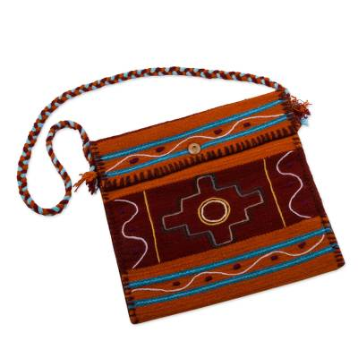 Andean Handwoven Orange and Red Wool Shoulder Bag