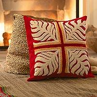 Wool cushion cover, 'Red Forest Cross' - Handwoven Red Wool Cushion Cover with White Crochet Motifs