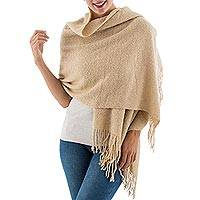 Baby alpaca blend shawl, 'Beige Boucle' - Andean Baby Alpaca Blend Handwoven Beige Boucle Shawl