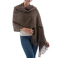 Baby alpaca blend shawl, 'Brown Boucle' - Handwoven Baby Alpaca Blend Boucle Shawl in Brown