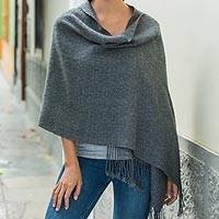 100% alpaca shawl, 'Timeless in Charcoal' - Backstrap Loom Handwoven Alpaca Shawl in Charcoal Grey