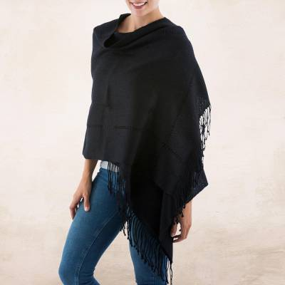100% alpaca shawl, Timeless in Black