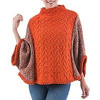 100% alpaca poncho, 'Andean Tangerine' - 100% Alpaca Hand Knitted Orange Turtleneck Poncho