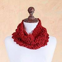 100% baby alpaca neck warmer, 'Labyrinthine Red' - Red Hand Crocheted 100% Baby Alpaca Neck Warmer
