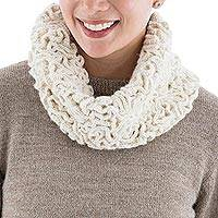 100% baby alpaca neck warmer, 'Labyrinthine Cream' - Hand Crocheted 100% Baby Alpaca Neck Warmer in Ivory