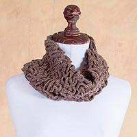 100% baby alpaca neck warmer, 'Labyrinthine Brown' - Hand Crocheted Modern 100% Alpaca Neck Warmer in Brown