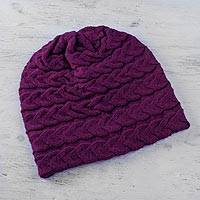 100% baby alpaca hat, 'Braided Fuchsia Warmth' - Andean 100% Baby Alpaca Cable Knit Hat in Fuchsia