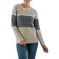100% alpaca sweater, 'Flower Diamonds' - Patterened Blue Beige Alpaca Sweater Knitted in Peru