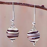 Blown glass dangle earrings, 'Brown Whirlwind' - Brown and Beige Hand Blown Glass Earrings with 925 Silver
