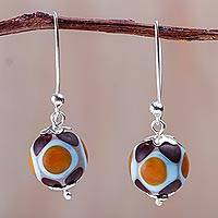 Blown glass dangle earrings, 'Mountain Blossom Bubble' - Brown and Yellow Blown Glass Earrings Crafted by Hand