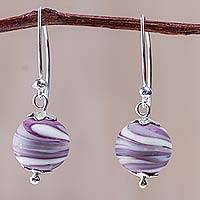 Blown glass dangle earrings, 'Lilac Whirlwind' - Blown Glass Earrings in Lilac and White with Silver Hooks