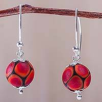 Blown glass dangle earrings, 'Fire Baubles' - Blown Glass Earrings Crafted by Hand in Peru with 925 Silver