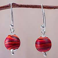 Blown glass dangle earrings, 'Crimson Whirlwind' - Red Hand Blown Glass Earrings with 925 Silver Hooks