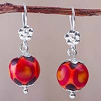 Blown glass dangle earrings, 'Sunset Blossom Bubble' - Hand Crafted 925 Silver Flowers on Red Blown Glass Earrings
