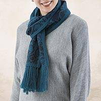 Reversible alpaca blend scarf, 'Turquoise and Blueberry' - Turquoise and Blue Reversible Alpaca Blend Jacquard Scarf