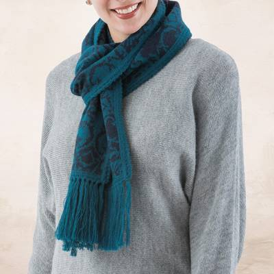 Reversible alpaca blend scarf, Turquoise and Blueberry