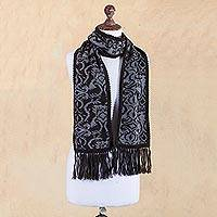 Reversible alpaca blend scarf, 'Licorice Grey' - Alpaca Blend Reversible Floral Black and Grey Jacquard Scarf