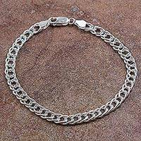 Men's sterling silver chain bracelet, 'Ancient Chain Mail' - Hand Crafted Men's Sterling Silver Chain Bracelet from Peru