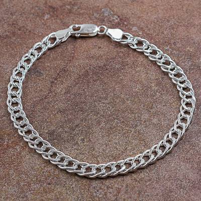 Mens sterling silver chain bracelet, Ancient Chain Mail